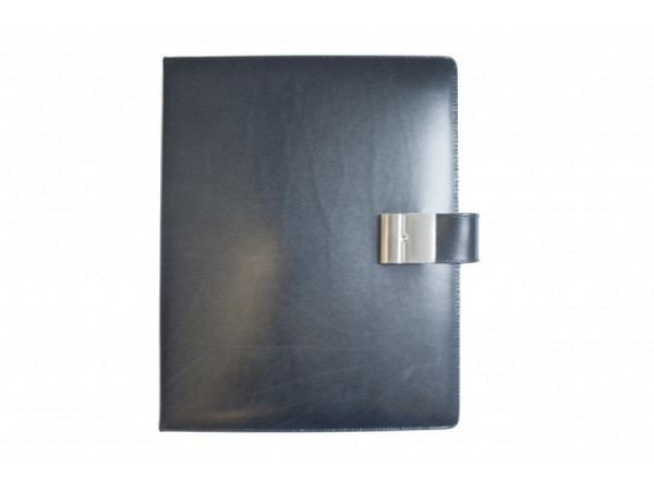 Dokumentenmappe ASL Rindleder A4 Manhattan schwarz mit 4-Ring-Mechanik, Schloss und Schlüssel, 5 Zei