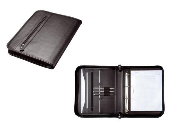 Konferenzmappe Alassio Limone Lederimitat schwarz mit 4-Ring-Mechanik herausnehmbar, Reissverschluss rundum, Fächertasche, Einschubfach für einen A4-Block, 3 Einsteckfächer, 3 Stiftschlaufen, Reissverschlussfach aussen, BxTxH 285x40x360mm, Gewicht 0,..