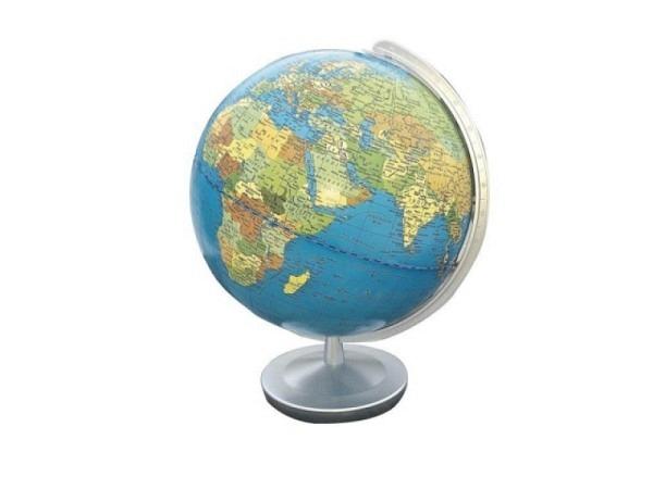 Globus Columbus Terra Durchmesser 26cm, silbern