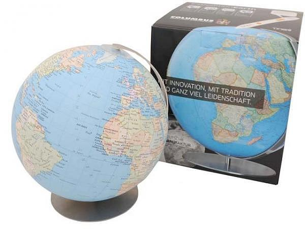 Globus Columbus Terra 30cm, Akrylglas, H:34cm, schwarz