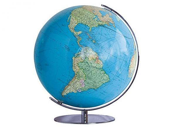 Globus Columbus Duo 51cm matt. Edelstahl-Fuss Akrylglaskugel