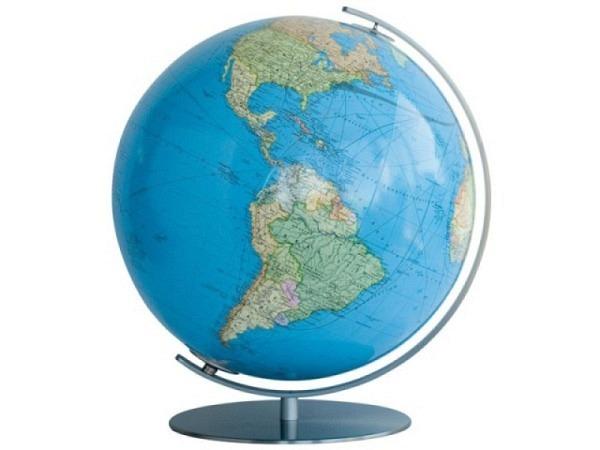 Globus Columbus Duo 34cm matt. Edelstahl-Fuss Akrylglaskugel
