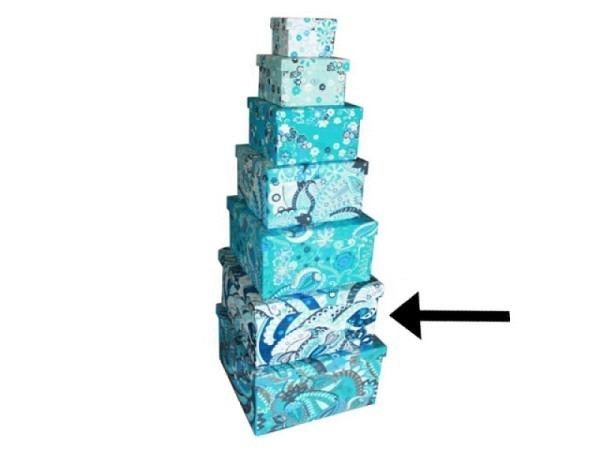 Geschenkschachtel Blue Ornaments aus Indien 36,5x36,5x22,5cm, mit Stoffüberzug