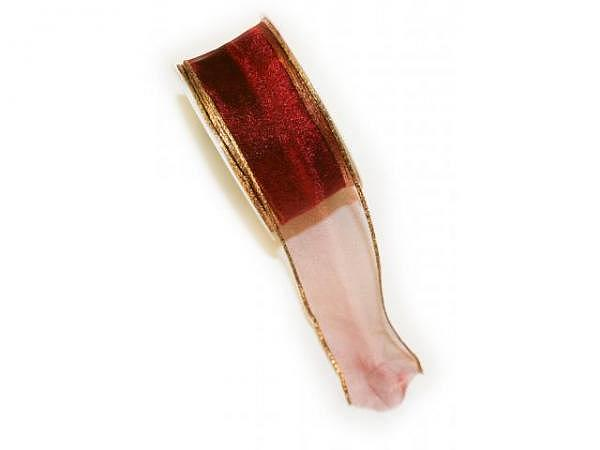 Geschenkband Bordeaux 40mmx2m, dunkelrotes Geschenkband mit gold Rand, mit Draht verstärkt