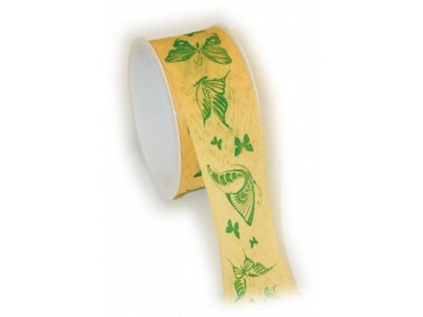 Geschenkband Butterfly gelb 40mmx2m, gelbes Band bedruckt mit grünen Schmetterlingen, Rand mit Draht verstärkt