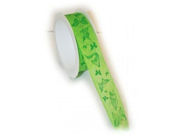 Geschenkband Butterfly grün 25mmx3m, grünes Band mit grünen Schmetterlingen bedruckt, Rand mit Draht verstärkt
