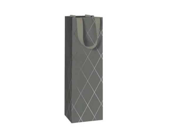 Flaschentasche Stewo Botella braun 12x7x37cm, mit der Silhouette einer Weinflasche und Text Vino, Tr