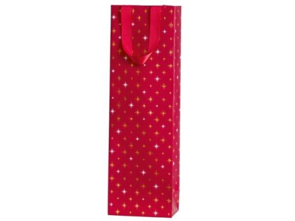 Flaschentasche Stewo Corona rot 12x8x37cm, rote Flaschentasche mit goldenen und silbernen Sternen be