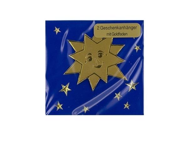 Geschenksanhänger 2er Set Sonne abstehend auf blau 6,5x6,5cm
