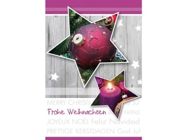 Geschenksanhänger Borer Weihnachtssterne lila 4er Set