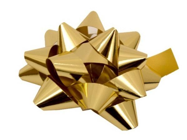Geschenkmaschen Spyk Miroir gold glänzend, aus 16mm breitem Geschenkband, Farbnr. 730