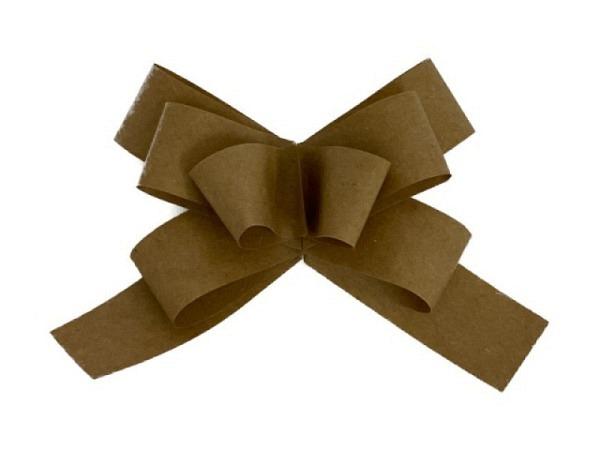 Geschenkmaschen Rüschenband braun mit Goldrand