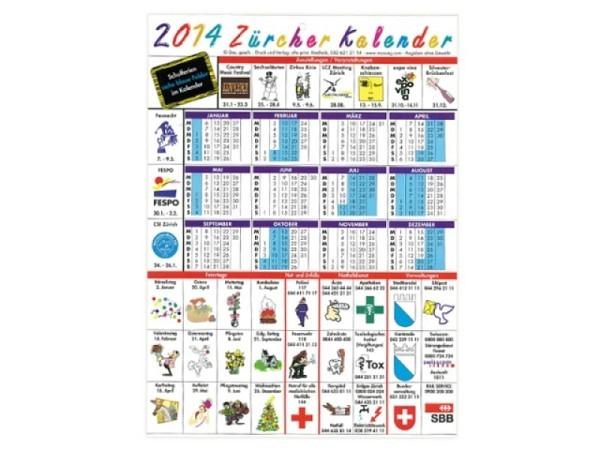 Planer Zürcher Kalender, aus Karton A4, mit Schulferien