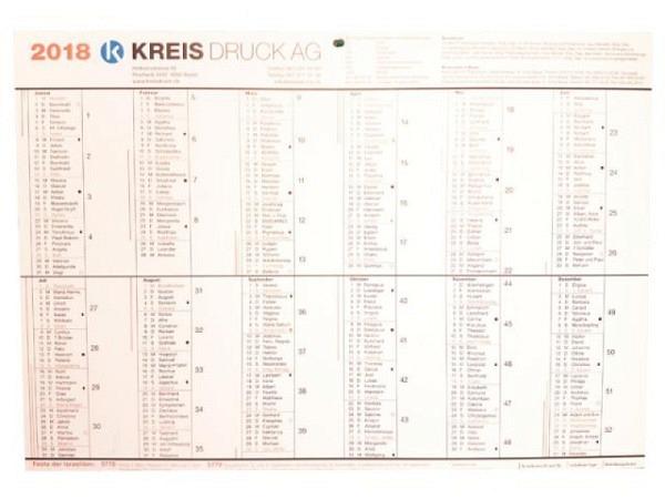 Planer Kreiskalender 2018, für den Kanton Basel, A4+