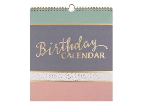 Geburtstagskalender Coppenrath Vergiss mein nicht 14x33cm, bunter Streifenkalender im Blumendesign mit Spiralbindung, Deckblatt mit Folie, offener Karton, stabile Rückenpappe