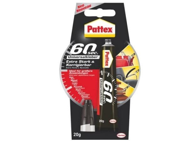 Leim Pattex 60 Sekunden Universalkleber für Innenanwendungen, flexibel, gelförmig, korrigierbar, tem