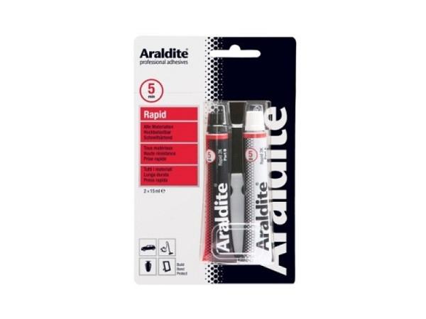Leim Araldit Rapid rot 2Komponenten, klebt in 20Min. fest, wasserfest, temperaturbeständig, für Glas