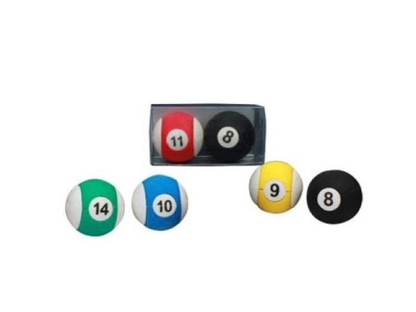 Radiergummi Billardkugeln 2er Set, erhältlich in 4 verschiedenen Farben, verpackt in Kunststoffbox