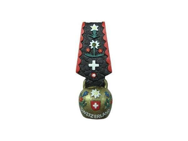 Magnet Bell Long Splashart, kleine Kuhglocke mit Halsband, im Schweizerdesign 6cm