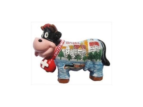 Magnet Basel Funny Cow mit Basler Motiv, kuhförmiges Magnet, auf der Kuhglocke hat es ein Schweizerkreuz, B5,5xH4,5cm