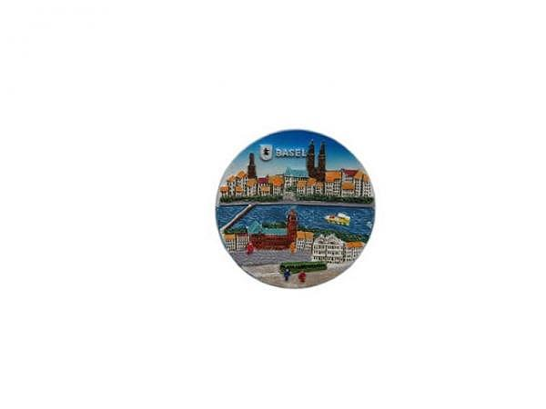 Magnet Basel Rhein mit Münster, im Vordergrund grüne Trämli, runde Form, Durchmesser: 5,5cm