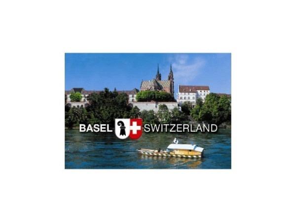 Magnet Basel Schifflände Rhein mit Münster und Fährboot, fotografisches Motiv, rechteckige Form, B8xH5,5cm