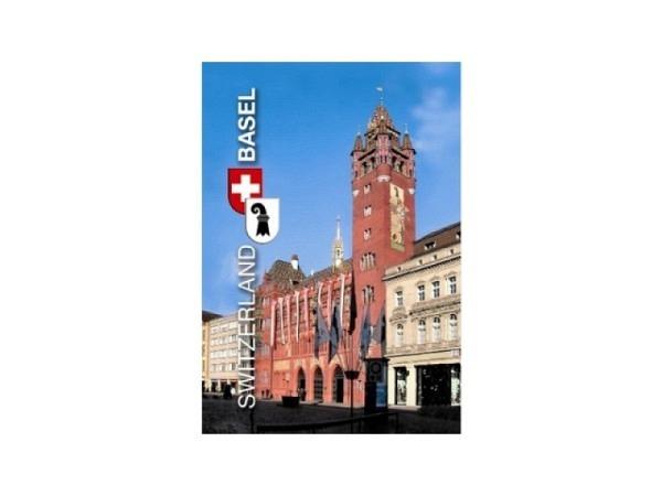 Magnet Basel Rathaus, fotografisches Motiv, rechteckige Form im Hochformat, Schriftzug Switzerland und Basel, B5,5cmxH8cm
