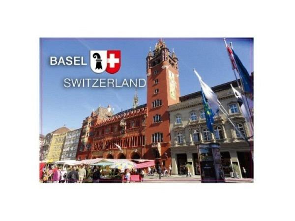 Magnet Basel Rathaus, fotografisches Motiv, rechteckige Form im Querformat, Schriftzug Switzerland und Basel, B8xH5,5cm