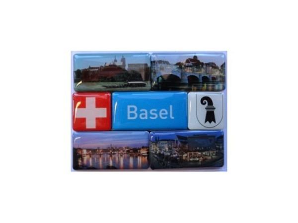 Magnet Basel Set mit 7 Magneten, fotografische Motive von Basel inkl. Schweizer und Basler Wappen sowie Schriftzug Basel, in rechteckiger Form