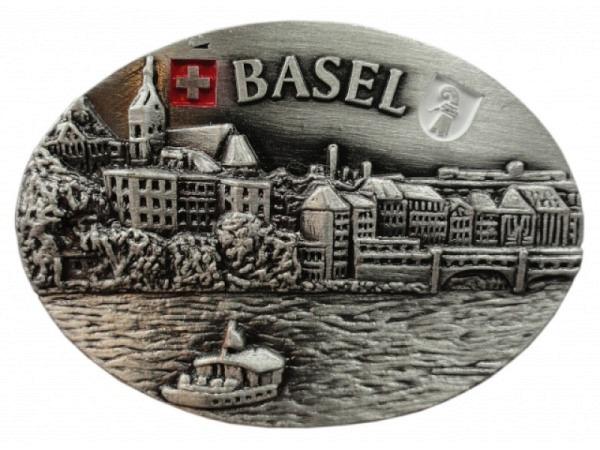 Magnet Basel Metall rund, mit Stadtansicht auf Basel