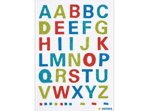 Buchstaben Herma 84x120mm A-Z Glitter farbig, 1 Blatt