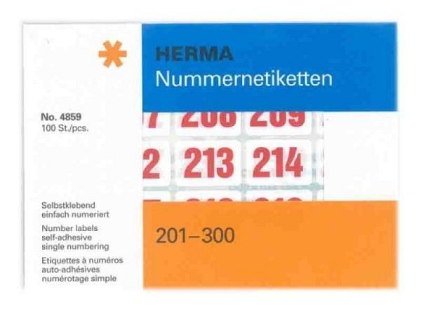 Zahlen Herma 201-300 rot auf weiss, fortlaufend einfach numeriert, 19x27mm, Blätter mit 25 Etiketten, 100Stk.