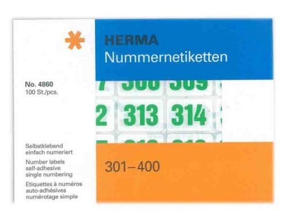 Zahlen Herma 301-400 grün auf weiss, 19x27mm