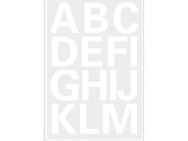 Buchstaben Herma 84x120mm A-Z 25mm hoch weiss, auf transparenter Kunststofffolie, Originalnummer 4169