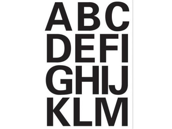 Buchstaben Herma 84x120mm A-Z 25mm hoch schwarz, auf wetterfester weisser PVC-Folie, Originalnummer 4167
