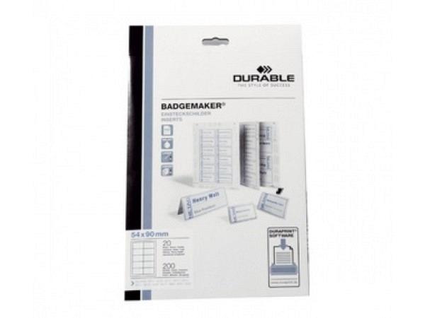 Namensschilder Durable Etiketten Badgemaker 1453  A4 4x7,5cm
