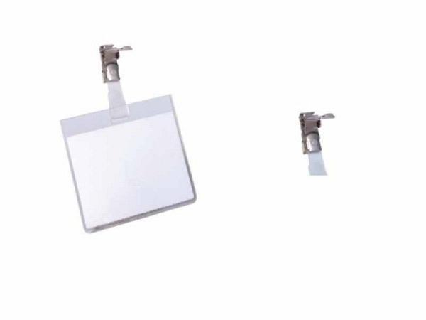 Namensschilder Durable 60x90mm 8003 Querformat mit Clip 25Stk., aus transparenter Hartfolie, drehbarer Clip für senkrechten Halt, Clip-Befestigung verschliesst gleichzeitig die Hülle, inkl. 1 blanko Einsteckschild je Namensschild