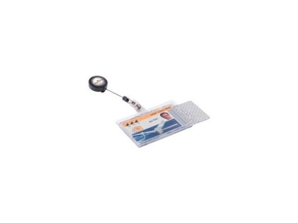 Ausweishalter Durable transparent für 2 Betriebsausweise im Format 54x90mm, schneller Zugriff durch Daumenstanzung, Aufrollmechanismus, 10Stk, 8224/19