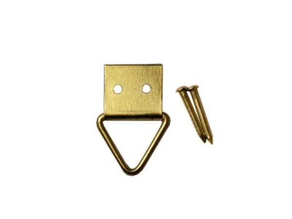 Bilderhaken Triangel Messing 8mm breit inkl. je 2 Nägeln, quadratische Grundfläche, mit Klappöse 10Stk.
