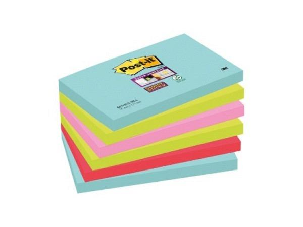 Haftnotizen Kores 100x150mm gelb mit blau liniert, Block zu 100Blatt, an einer Schmalseite mit ablösbarem Klebstoff versehen