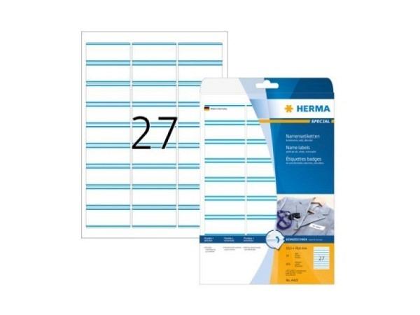 Etiketten Herma Namensetiketten A4 29,6x63,5mm weiss-blau