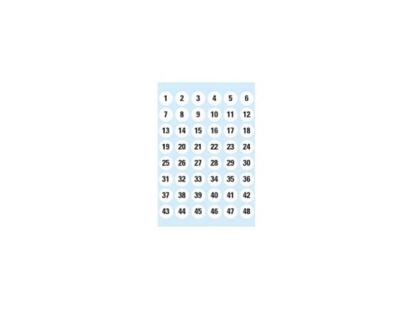 Etiketten Herma 120x84mm Zahlen 1-240 12mm Durchmesser weiss, auf 5 Blätter verteilt, 4124
