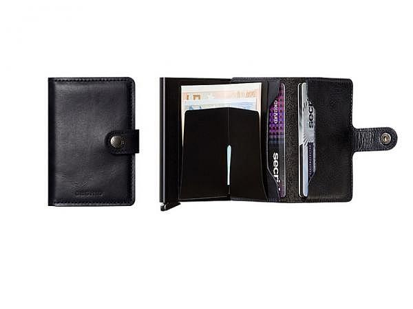 Kreditkartenetui Secrid Miniwallet vintage schwarz, Leder