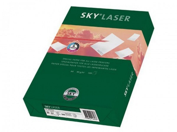 Papier Sky Laser 80g 500Bl. weiss speziell für Schwarz-Laser, aber auch für Farblaser, Kopierer, Ink